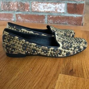 Steve Madden Cheetah Print Flats with Gold Spikes!